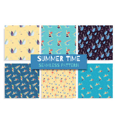 seamless flat pattern set summer time concept vector image