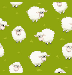 Seamless pattern with cute funny herd white sheeps vector