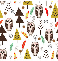 seamless pattern with owl in forest scandinavian s vector image