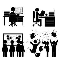 Set flat office internal communications icons vector