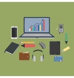 Set of business working elements for digital vector image