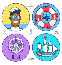 Set of circle marine icons and other objects vector