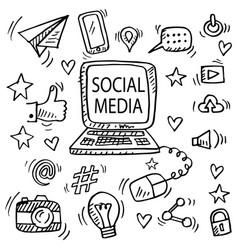 set social media doodle vector image