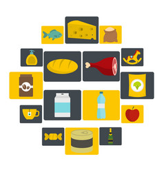 shop navigation foods icons set in flat style vector image
