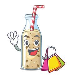 Shopping homemade tasty banana smoothie on cartoon vector