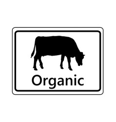 Sign for organic dairy farming vector