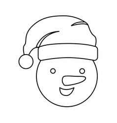 silhouette face cartoon snowman christmas design vector image