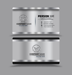 Silver black business card template psd vector