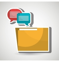 Speech bubbles with folder isolated icon design vector