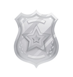 steel police officer badge icon protection vector image