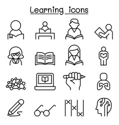 Study learning education icon set in thin line vector