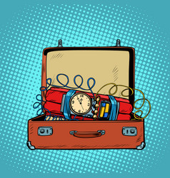 suitcase with a time bomb vector image