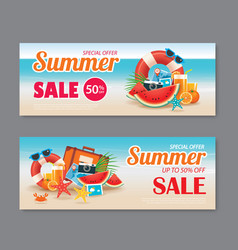 summer sale voucher background template discount vector image