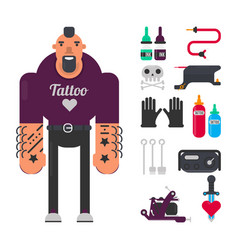 Tattoo master with special work equipment isolated vector