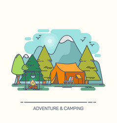 tent and campfire in forest or wood vector image