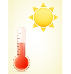 thermometer with sun hot weather vector image