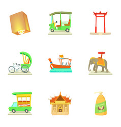 Tourism in thailand icons set cartoon style vector
