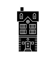 townhouse village black icon concept townhouse vector image