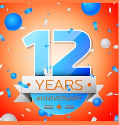 Twelve years anniversary celebration vector