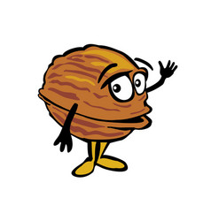 Walnut waves his hand color flat vector