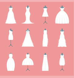 wedding dresses set on mannequin vector image