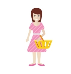 Women with Trolley Basket at Supermarket vector image