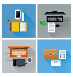 Workplace with digital devices top view icon set vector