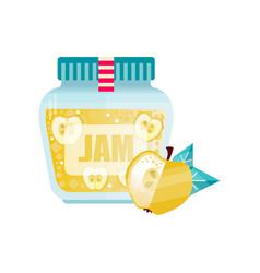 apple jam glass jar of fruit confiture vector image