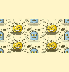 halloween seamless pattern with pumpkin and ghost vector image vector image