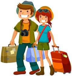 travelling couple vector image