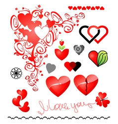 various variants of hearts for your design vector image vector image