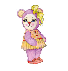 bear girl painted in watercolor vector image vector image