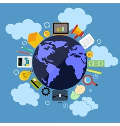 Business web applications with globe concept vector image vector image