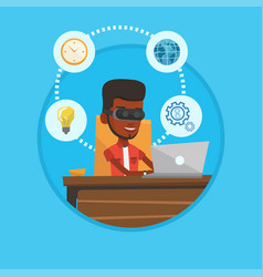 businessman in vr headset working on computer vector image vector image