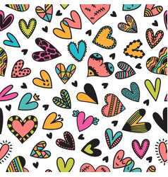 cute seamless pattern with hand drawn hearts cute vector image