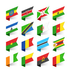 flags of the world africa set 3 vector image