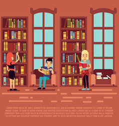 library interior concept - teenagers and students vector image vector image