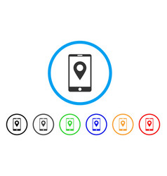 mobile gps rounded icon vector image vector image