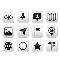 Travel location modern buttons set vector image