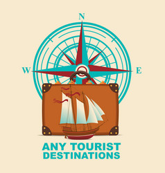banner with travel suitcase and compass windrose vector image