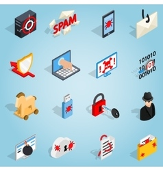 Hacking set icons isometric 3d style vector