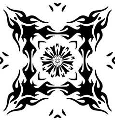 Hand drawn monochromatic floral ornament isolated vector image