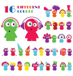 Set of different cartoon character vector image
