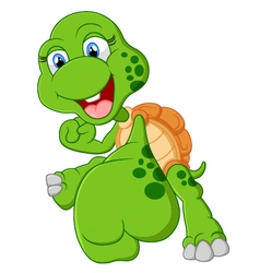 Turtle cartoon giving punch vector