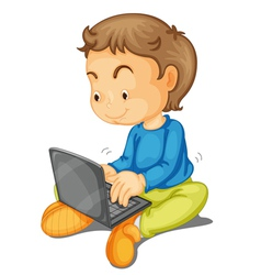 a boy with laptop vector image vector image