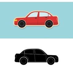 Car icon and silhouette vector image vector image