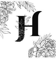 flower alphabet letter h pattern vector image vector image