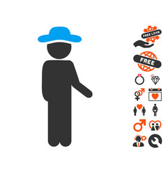 gentleman idler icon with lovely bonus vector image vector image