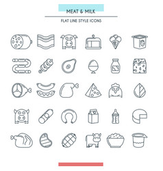 meat and milk thin icons vector image