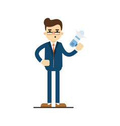 young concentrated businessman hold megaphone vector image